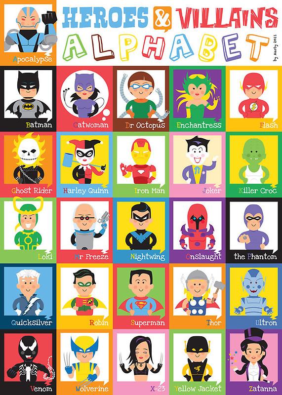 alfabeto de herois e vilões nerdpai