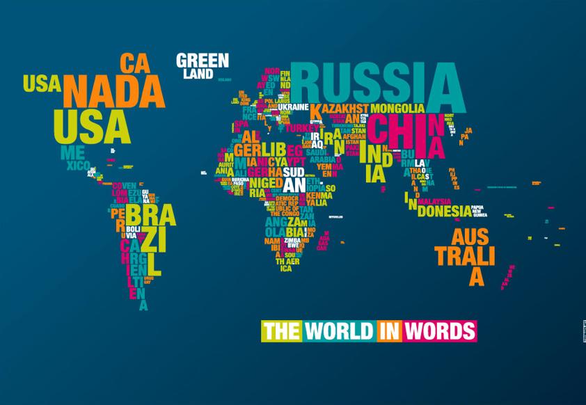 mapa mundi com palavras