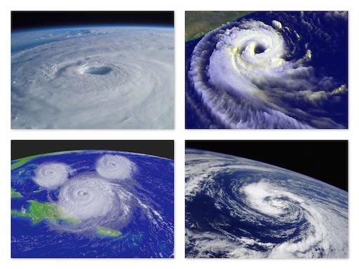 Como é dado o nome dos furacões e ciclones