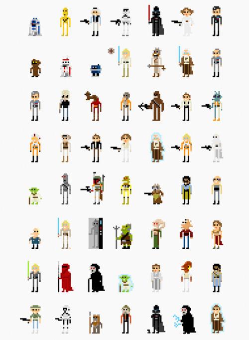 Todos personagens de Star Wars em 8 Bits