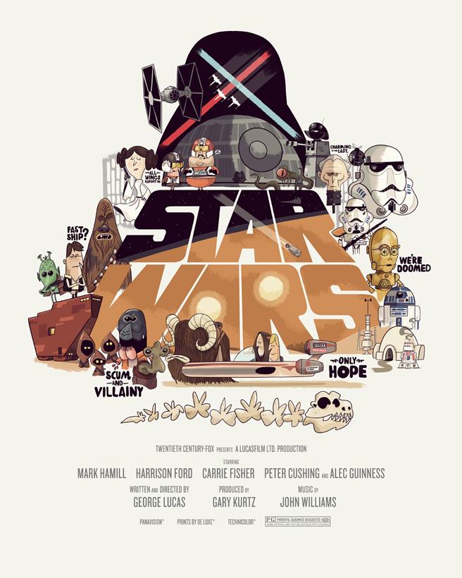 Tributo a Star Wars feito a mão - poster