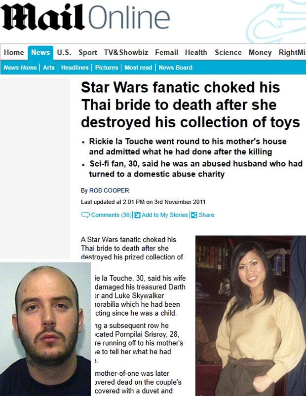 Homem mata esposa pois ela jogou fora sua coleção Star Wars