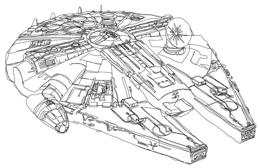 Ilustrações de Star Wars em linha contínua