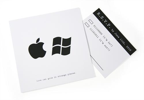 Convites de Casamento Nerd apple e windows
