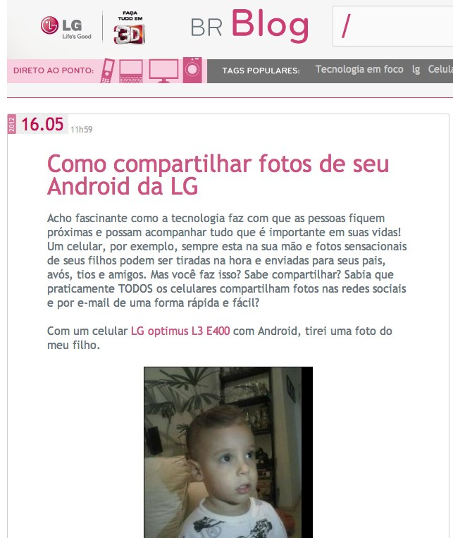 Post do Nerd Pai no Blog da LG
