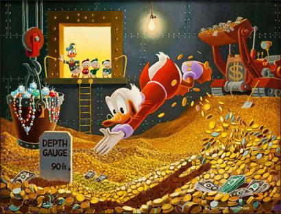tio patinhas dinheiro mergulho rico