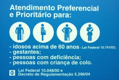 Atendimento preferencial e prioritário - Crianças de colo