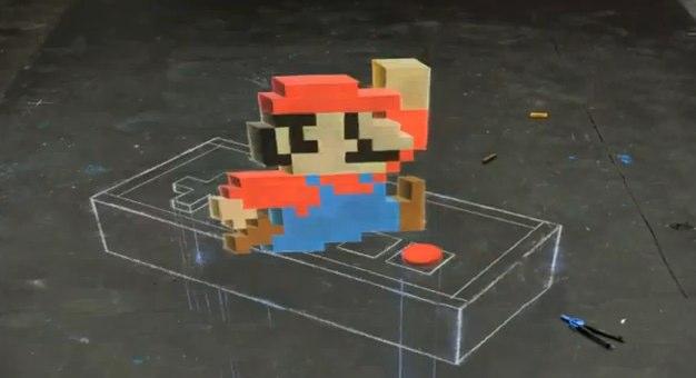 Super Mario - Arte com Giz 3D
