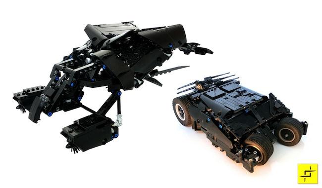 Batmóvel e o Bat feitos com Lego. E são motorizados
