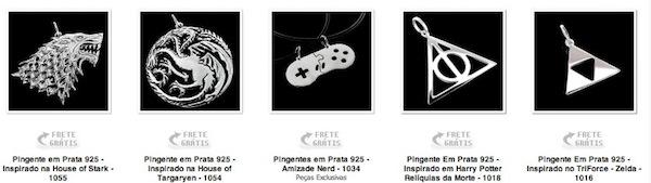 Joias Nerds e Geeks - pingentes prata e ouro