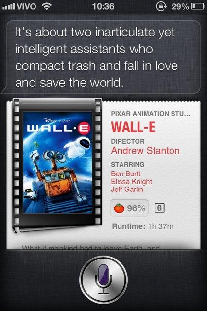 Siri e filmes com robôs Wall-E