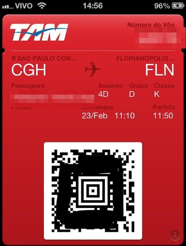 E menos um papel chato em viagens de avião - Passbook pela TAMAirlines