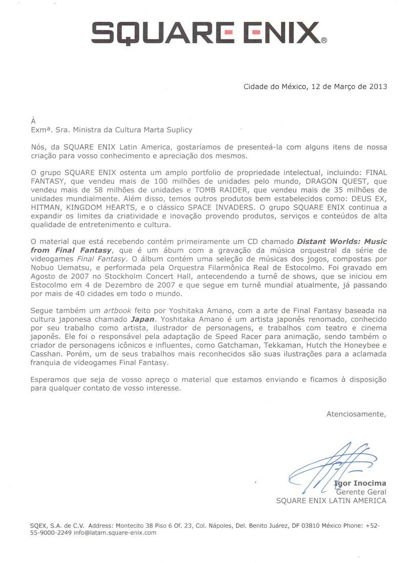 Carta da Square para a marta suplicy