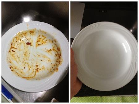 máquina de lavar pratos com molho de tomate