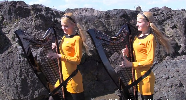 STAR TREK Theme (Harp Twins electric) Camille and Kennerly - YouTube