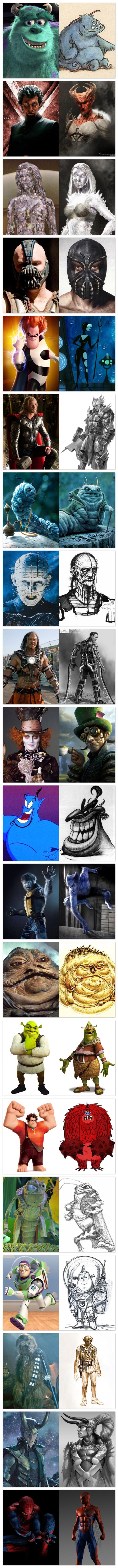 Personagens antes e depois