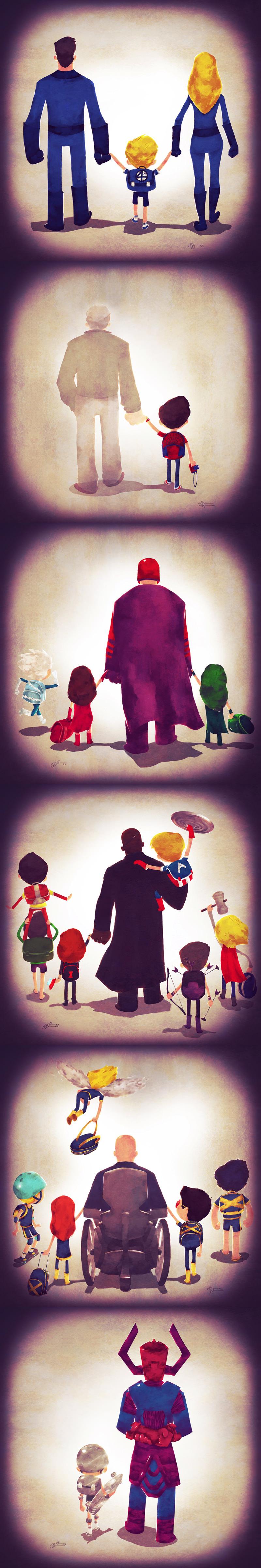 pais herois marvel