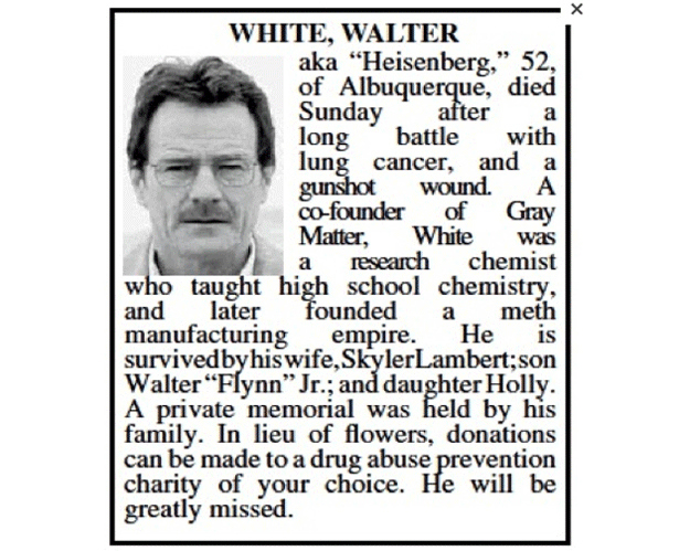 Walter White Obituario