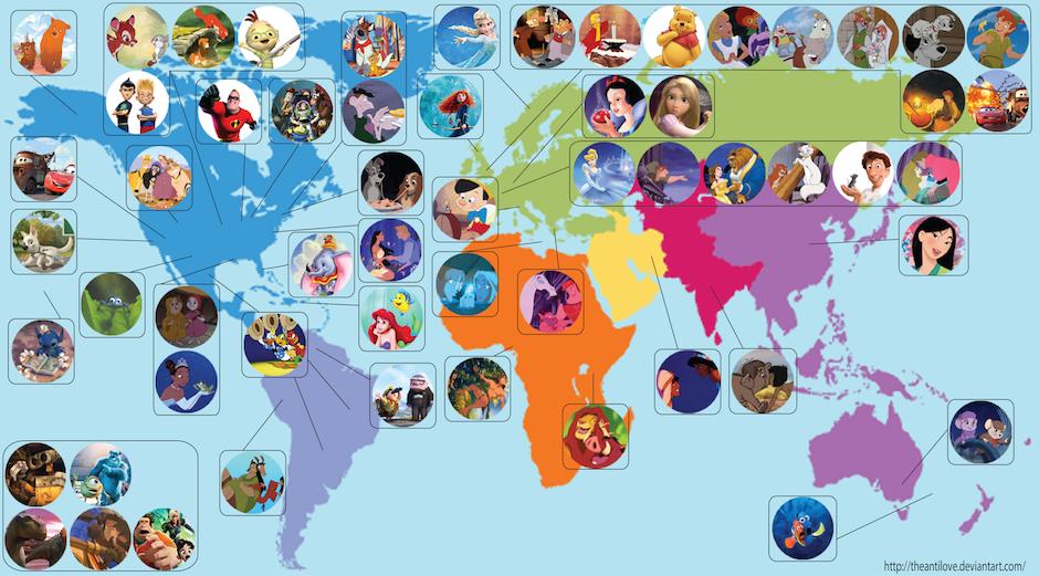 Mapa dos desenhos animações da Disney Pixar
