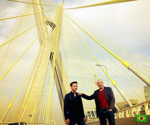 Patrick Stewart e James McAvoy em São Paulo