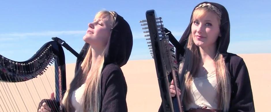 Gêmeas com harpas tocando o Tema de Star Wars
