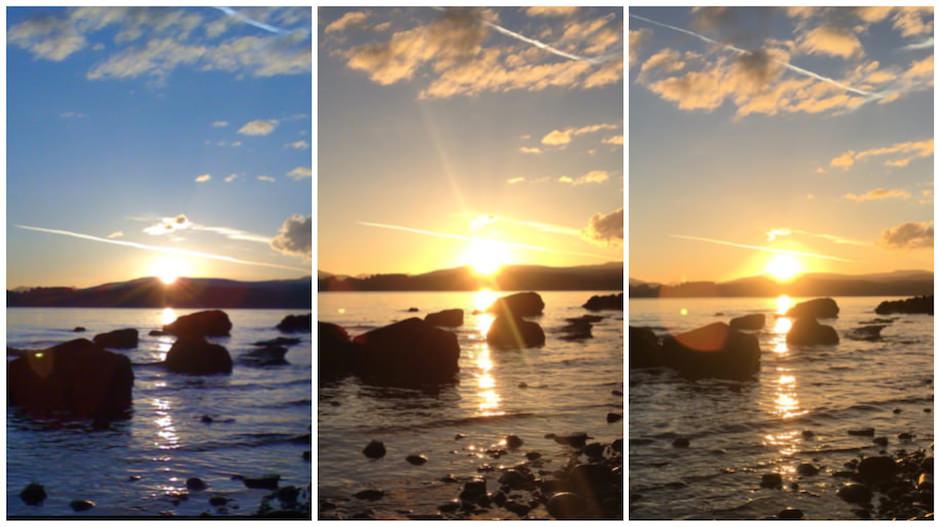 Comparação fotos iphone por do sol