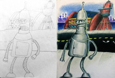 pai pinta desenhos dos filhos 06