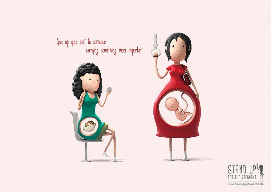 Desenhos bonitinhos nos lembram a razão que as grávidas merecem nossos lugares 01