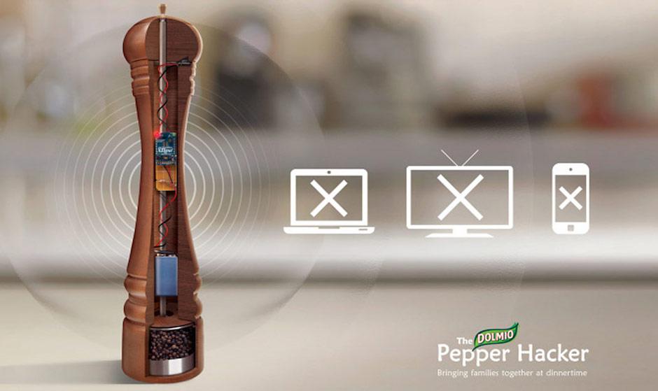Moedor de pimenta que bloqueia apps, wifi e a TV  dolmio pepper