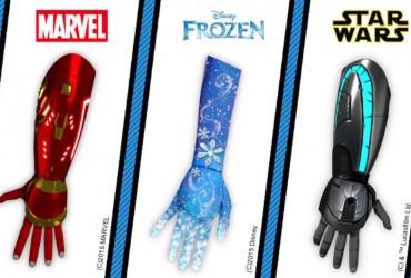 Próteses infantis do Homem de Ferro, Frozen e do Luke Skywalker 01