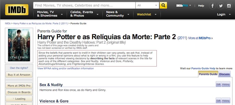 harry potter e as relíquias da morte parental guide imdb
