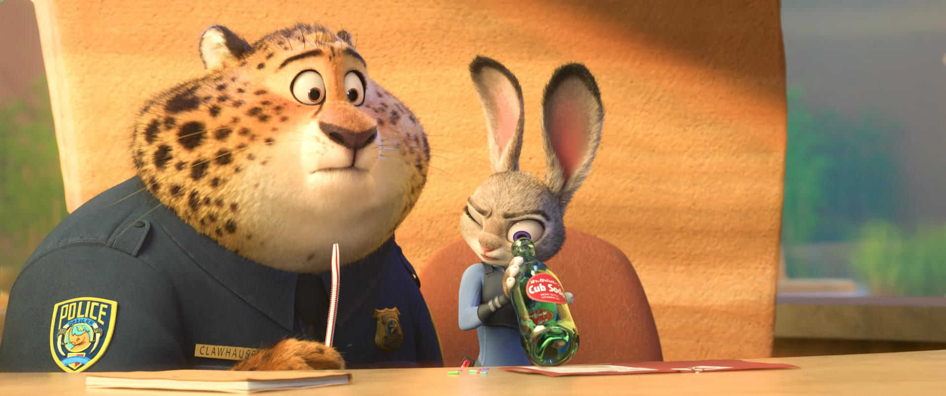 ZOOTOPIA –Easter Egg: Mickey Mouse shape in Clawhauser's spots. ©2016 Disney. All Rights Reserved.