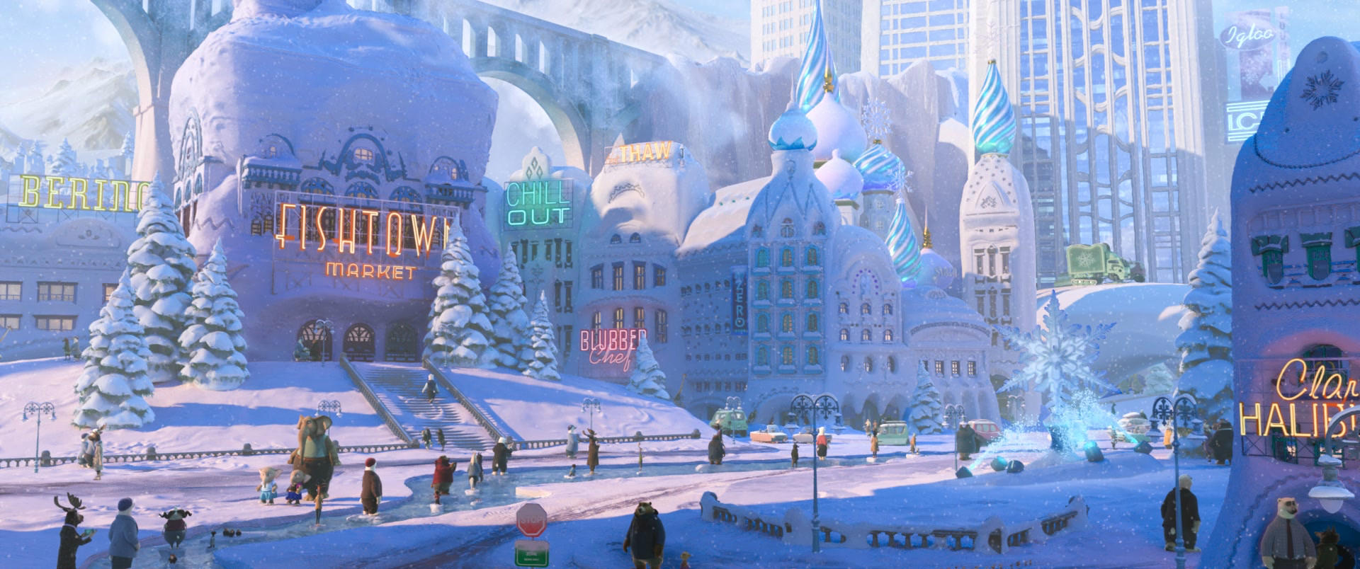 ZOOTOPIA – Easter Egg: Elephant girls wearing FROZEN Anna and Elsa outfits. ©2016 Disney. All Rights Reserved.