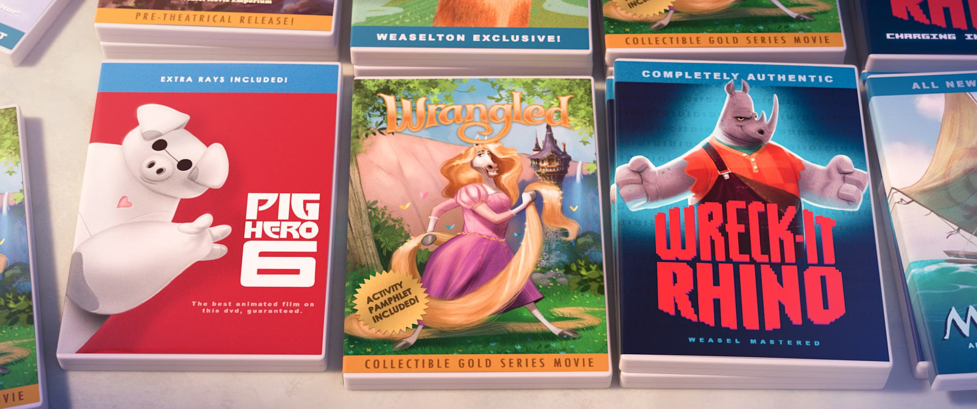 ZOOTOPIA – Easter Eggs: Weaselton Bootleg DVDs of PIG HERO 6, WRANGLED, WRECK-IT RHINO. ©2016 Disney. All Rights Reserved.