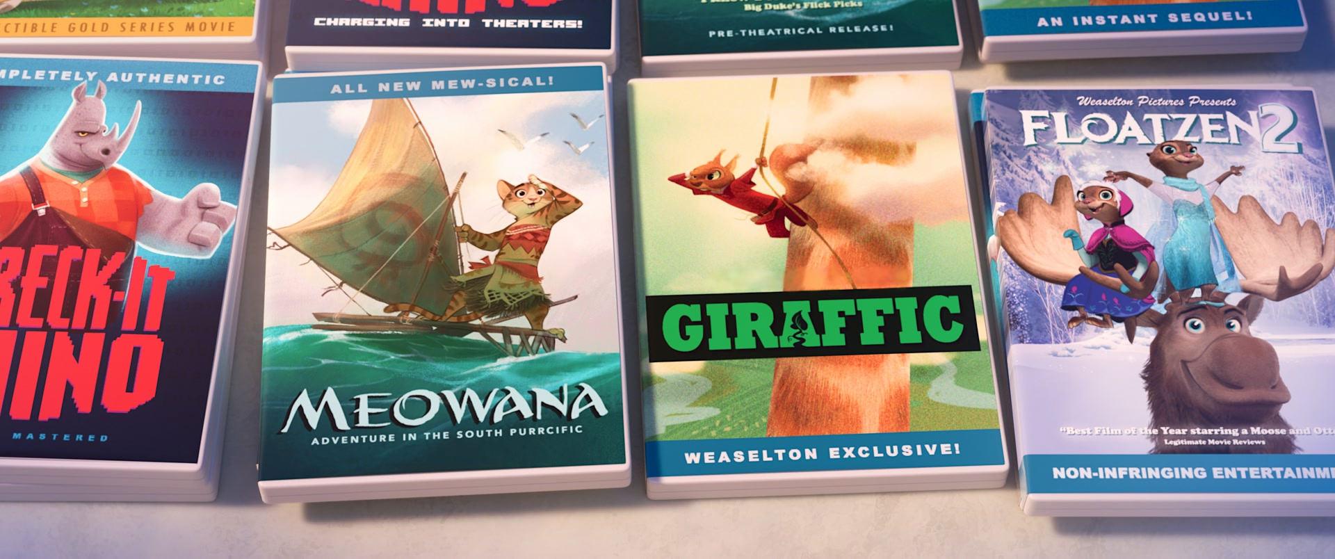 ZOOTOPIA –Easter Eggs: Weaselton Bootleg DVDs of MEOWANA, GIRAFFIC, FLOATZEN 2. ©2016 Disney. All Rights Reserved.