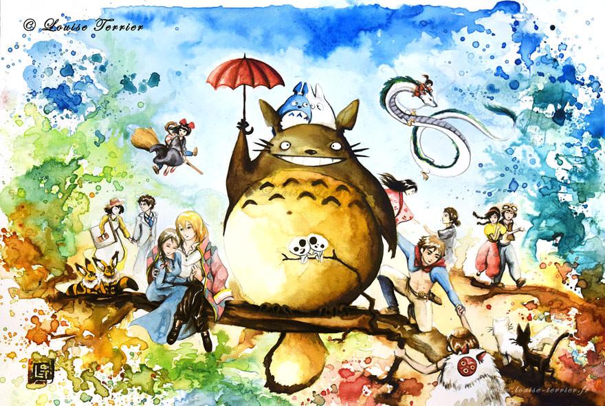 hayao-miyazaki-studio-ghibli-paintings-fan-art-louise-terrier Nerd pai 14