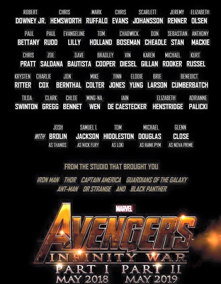 Os Vingadores Guerra Infinita terá mais de 40 heróis no filme
