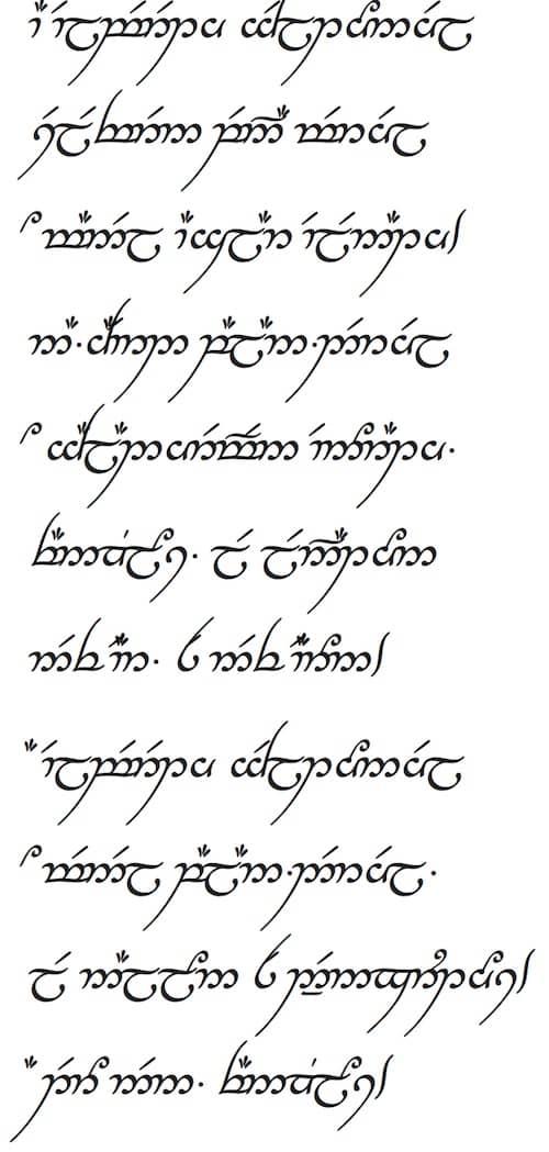 A Elbereth Gilthoniel em elfético