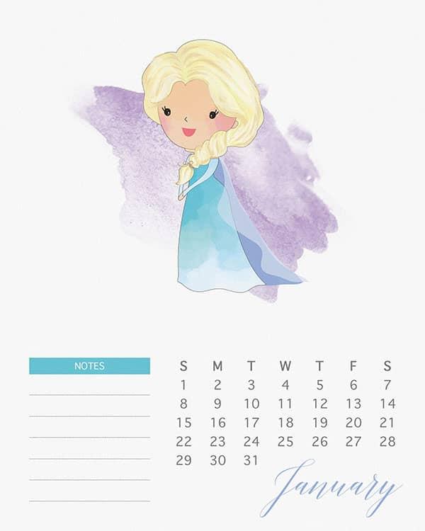 Calendario 2019 Disney Para Imprimir.Calendario Princesas Disney Para Voce Imprimir Nerd Pai